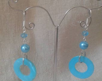 "Earrings ""Blue Pearl ring"""