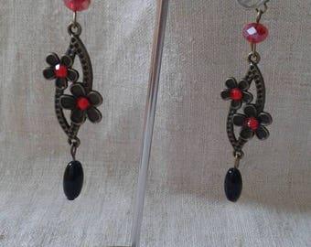 dangle earrings red rhinestone