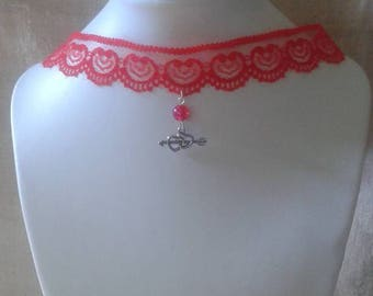 """""""Red Ribbon and two hearts"""" Choker necklace"""