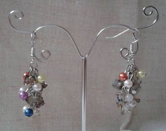 """Earrings """"cluster of multicolored beads"""""""