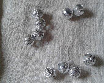 set of 10 beads, large holes, aluminum, 10 mm
