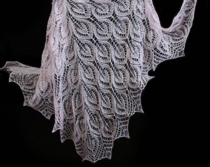 Knitted shawl, light pink shawl, knit shawl with beads, knit scarf, triangular scarf, bridal mohair shawl, openwork scarf, wedding wrap