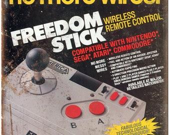 "Nintendo, Sega, Atari, Commodore Freedom Stick 10"" x 7"" Retro Look Metal Sign"