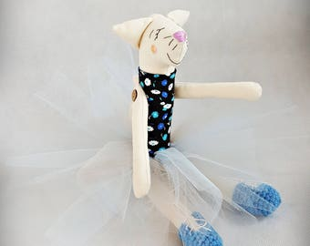Blue Kitty Ballerina hand-made toy