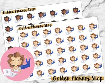 Computer Surfing Character Planner Stickers - Sophie and Amanda