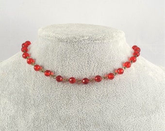 Red Bead Choker, Red Crystal Choker, Red Choker, Glass Bead Choker, Red Glass Necklace, Glass Bead Choker, Simple, Dainty, Delicate
