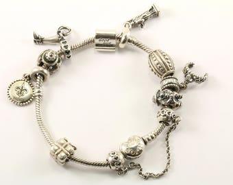 Vintage Pandora Charms Bracelet 925 Sterling BR 1721-E