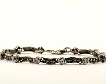 Vintage Floral Design Marcasite Link Bracelet 925 Sterling BR 2629
