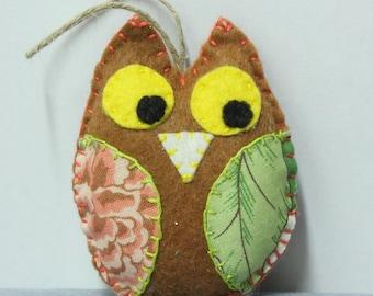 Little OWL or felt OWL hanging Brown, handmade