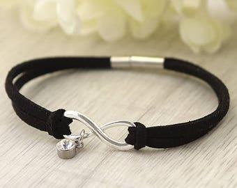 Infinity black leather Bracelet - Custom Jewelry - gift for her - Girlfriend bracelet - Birthday gift For Sister - Friendship bracelet