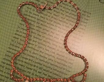 Unique vintage pumpkin-coloured rhinestone necklace with milk glass accents (A244)