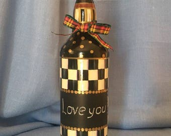 Black & White Hand Painted Chequered Decorative Bottle With A Chalkboard