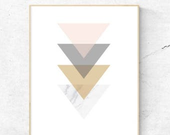 On Sale Geometric Triangles Wall art - Digital Prints, Instant Download - Home Decor, wall art, print.