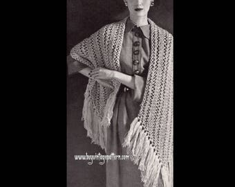 Vintage Quick Knit Stole Knitting pattern in PDF instant download version , PDF pattern