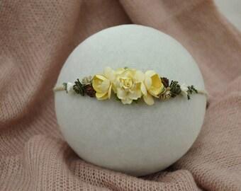 Cream, earthy colors floral newborn tieback