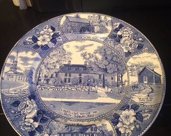 "Vintage Adams Staffordshire Blue Transfer Ware 10"" Plate Longfellow's Wayside Inn"