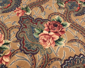 Vintage - 1993 Interior Fab Designs Burgundy and pink roses with jewel tone paisley on super soft tan brushed cotton