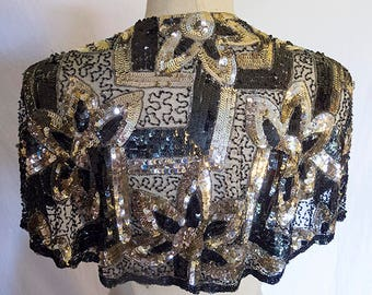 1920s Art Deco Sequin Capelet Cape Beaded Flapper Probably French