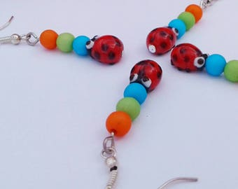 Fun Bright Ladybird Earrings, Ladybug Dangle Drop - Sakoo Rose