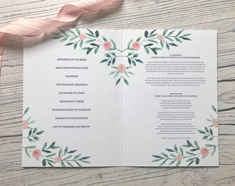 Leafy Green Order of Service Booklet - Peach Watercolour Floral - Olive Vines - Wedding Day Stationery