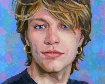 John Bon Jovi/Bon Jovi. The painting is oil on the canvas. 40 x 40 See Web site Portrait