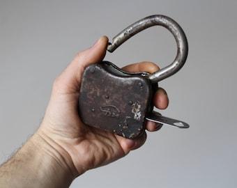 Soviet Vintage Padlock.Rusted Door Lock.Vintage Padlock Industrial Decor.Rusty Metal Padlock.Old Padlock.Large Padlock.Farmhouse Decor.