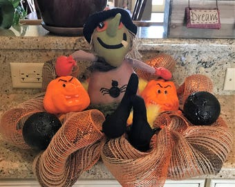 Spokey Witch With Pumpkins Table Top Centerpiece