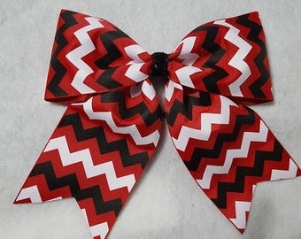 READY TO SHIP - Red Black and White Chevron Hairbow (7 X 6)