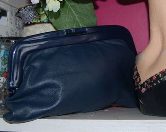 Vintage Navy leather clutch