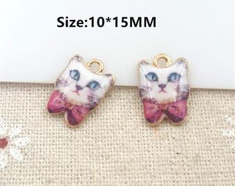 10pcs  Gold Tone Oil Drop Charms, Enamel Lovely Animal Owl Charm Jewelry,Owls Charms for Necklace Bracelet Pendant DIY Jewelry