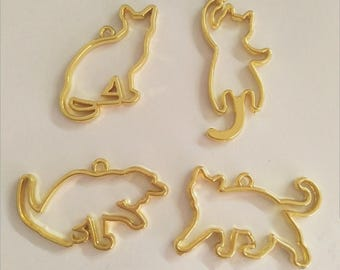 10Pcs 4 Style Gold Animal Cat Charm Tricks Series Diy Charms Pendant Jewelry Accessories Handmade Craft Floating locket