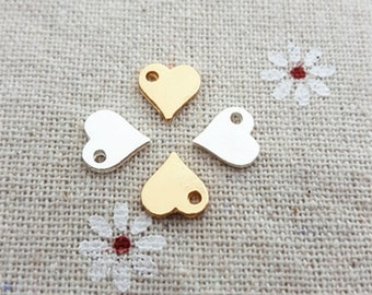 20pcs Silver Gold Love Heart Beads Charm Metal Charms Diy Floating Charm Pendant Jewelry Making