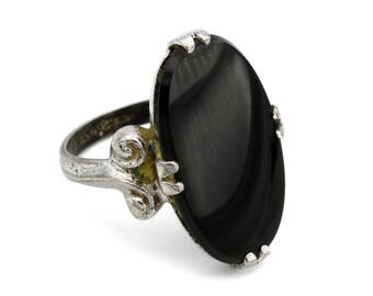 Sterling Oval Stone Ring, Black Onyx Gem Ring, Clark And Coombs Jewelry, Antique 1940s Jewelry, 925 Silver Gemstone Ring, Pinky Ring Size 4