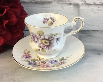 July Flowers of the Month Tea Cup and Saucer Set Made by Queen's Rosina in England Vintage Fine Bone China Porcelain Lovely Tea