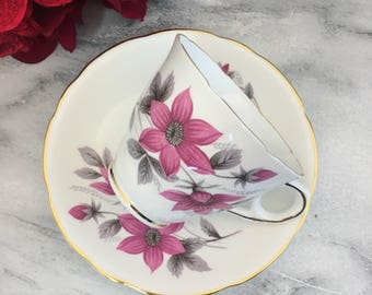 Royal Kent Pink Flowers Tea Cup and Saucer Fine Bone China Vintage England Made Lovely Daisy Excellent
