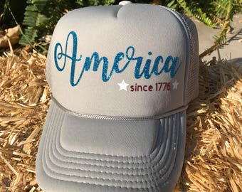 America Trucker Hat, Gray Trucker Hat, USA Hat, USA Trucker Hat, 4th of July Trucker Hat, Red White and Blue, Independence Day Hat