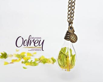 CLEARANCE, pineapple necklace terrarium necklace pendant real flower Globe glass Decoration for rear view mirror, lucky charm