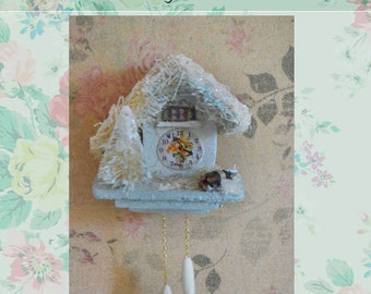 Miniature Cuckoo clock, Miniature wall decor. White Christmas Cuckoo clock