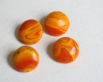 Set of 4 Orange Glass Buttons