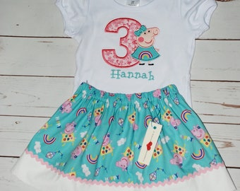 Custom embroidered Peppa Pig birthday shirt, Peppa muddy puddles shirt, Peppa Pig birthday outfit, Peppa Pig skirt, peppa pig outfit, peppa