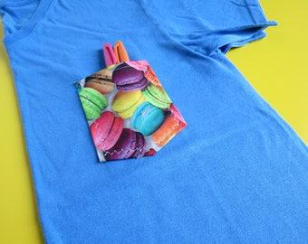 Small Rainbow Macaroon Light Blue Vneck Pocket Tee