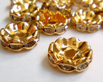 10 gold rhinestone Rondels 10mm