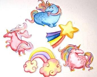 Planner Die Cuts - Unicorn Die Cut - TN Pocket Die Cut - Planner Decoration - Rainbow Die Cut - Unicorns - Shooting Star