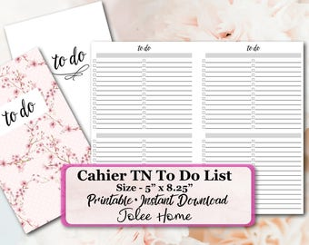 Cahier Size Insert, Cahier Cover, TO DO List Printables, To Do List, To Do List Notepad, Cahier Printable Inserts, Cahier Printable Notes