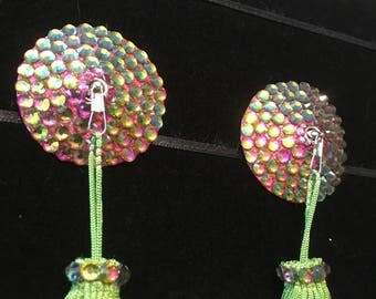 Seven-Colour Crystal Rhinestone Burlesque Pasties with Chainette Tassels