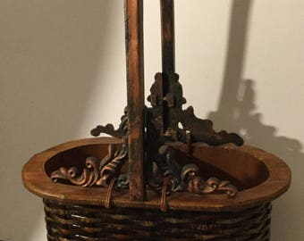 Vintage Wine bottle basket.Wine basket.Wood and metal basket
