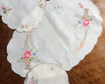 Three vintage doilies - embroidery applique floral designs