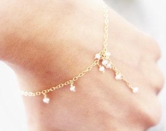 Baby freshwater pearl bracelet,delicate 14 k G filled chain bracelet,Delicate bracelet, minimalist bracelet , June birthstone,gift for her