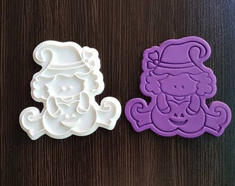 Witch with the Halloween Pumpkin Cookie Cutter and Stamp