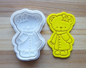 Bear Girl wearing Muffler Cookie Cutter and Stamp